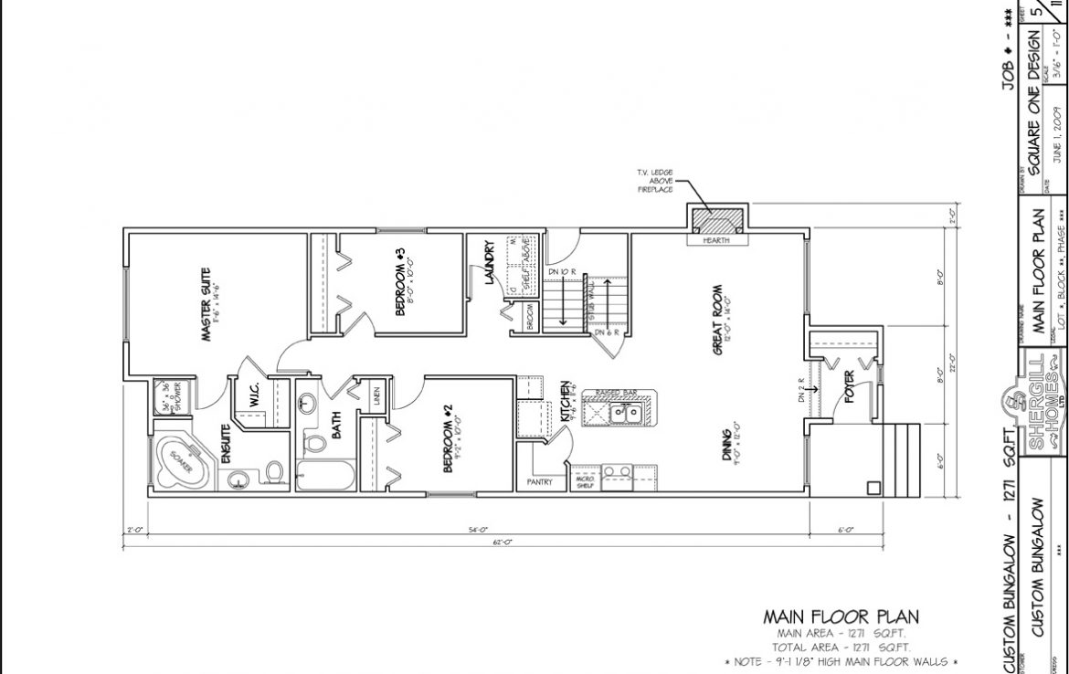 Shergill Homes - Plans for Fort McMurray / Fort Mac; Custom Built Bungalow 1271 sq. ft floor plan
