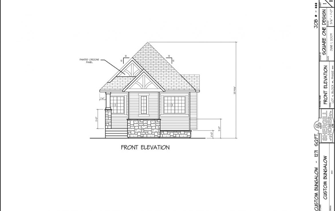 Shergill Homes - Plans for Fort McMurray / Fort Mac; Custom Built Bungalow 1271 sq. ft front view