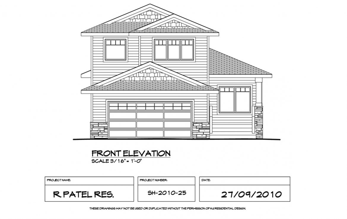 Shergill Homes - Plans for Fort McMurray / Fort Mac; 1529 sqft Two Storey Front Elevation