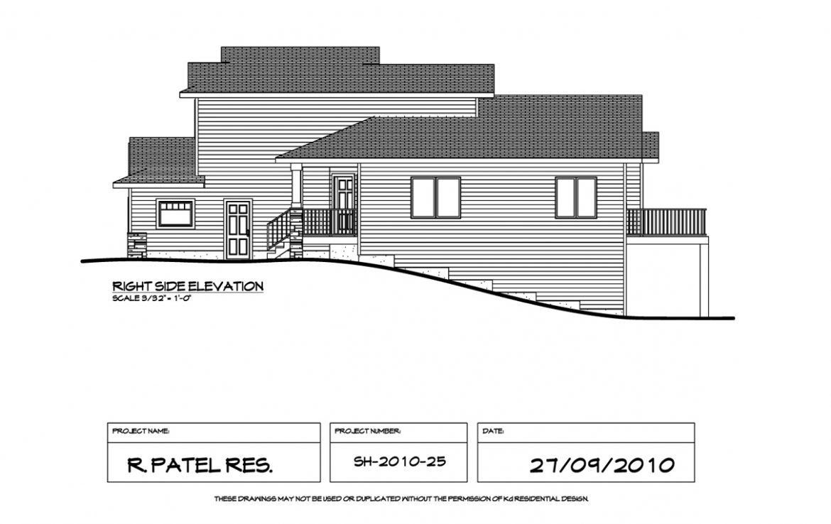 Shergill Homes - Plans for Fort McMurray / Fort Mac; 1529 sqft Two Storey Right Side Elevation