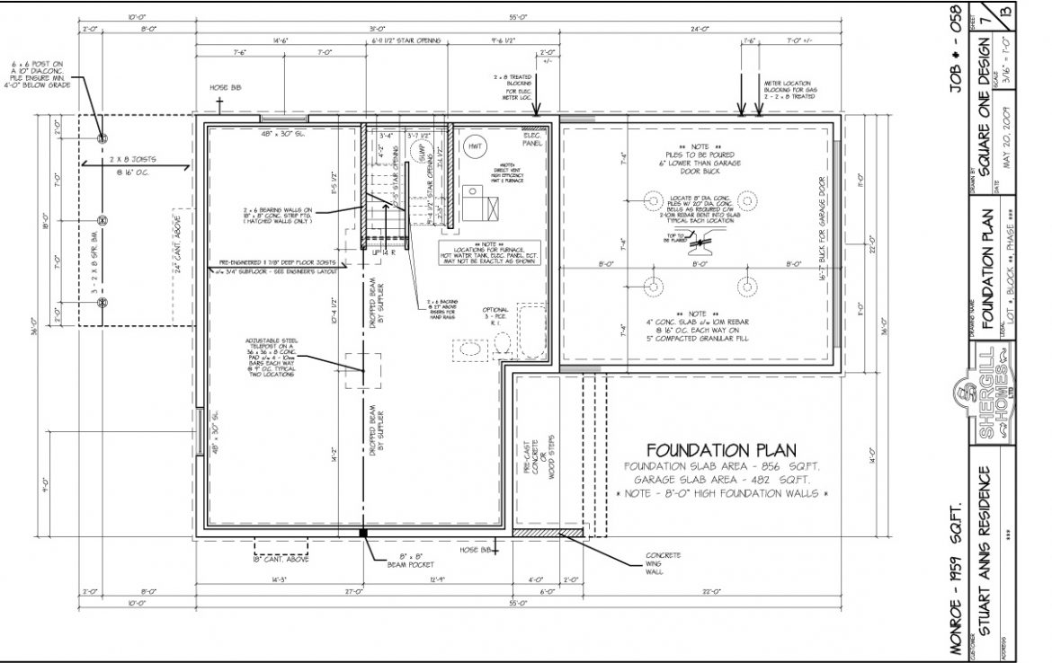 Two storey 1959 sq ft shergill homes for Foundation blueprints