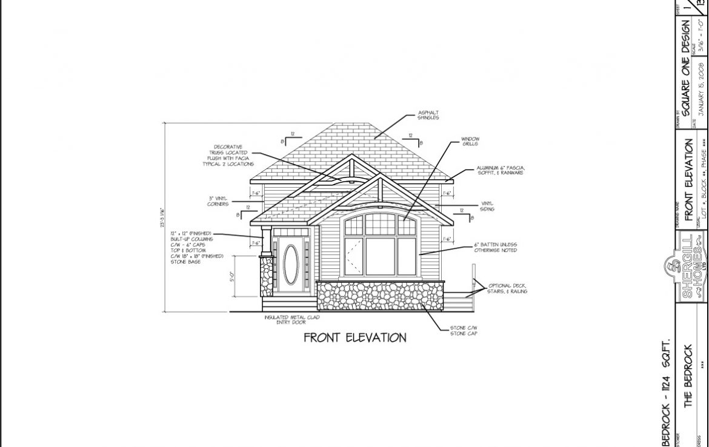 Shergill Homes - Plans for Fort McMurray / Fort Mac; Bedrock Bi-Level Bungalow 1124 sq. ft front