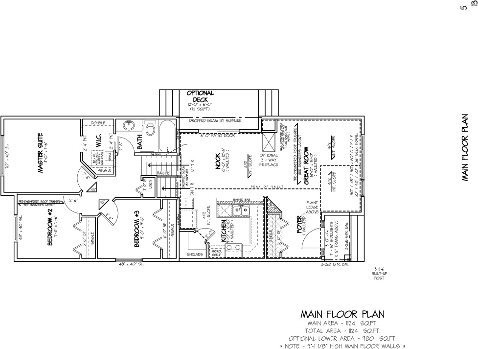 Shergill Homes - Plans for Fort McMurray / Fort Mac; Bedrock Bi-Level Bungalow 1124 sq. ft main floor plan