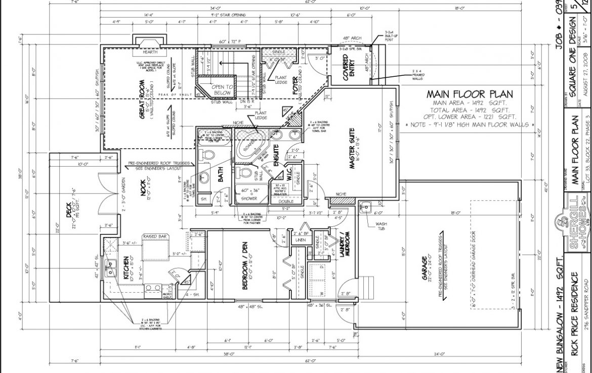 Shergill Homes - Plans for Fort McMurray / Fort Mac; Bungalow with garage 1492 sq. ft floor plan