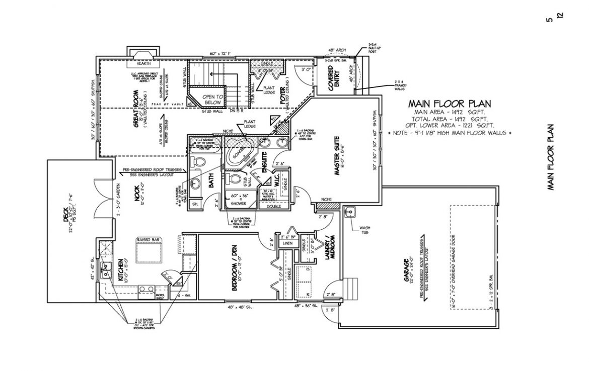 Shergill Homes - Plans for Fort McMurray / Fort Mac; ; Bungalow with garage 1492 sq. ft floor plan
