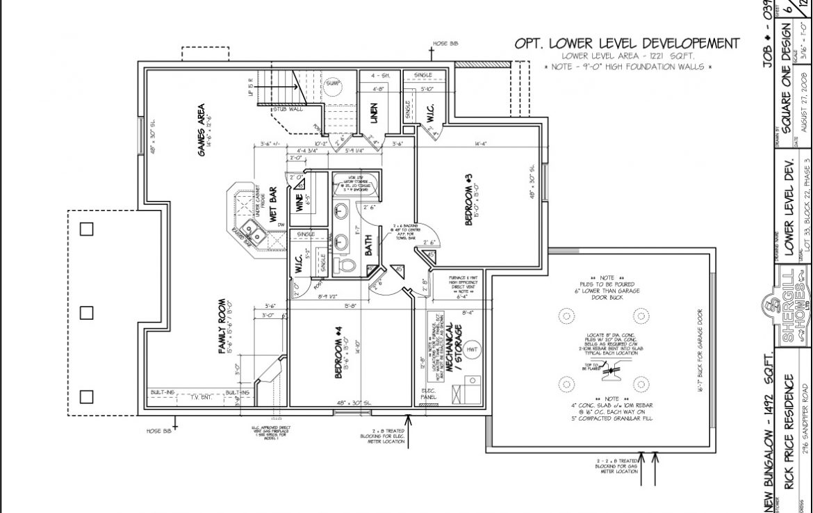 Shergill Homes - Plans for Fort McMurray / Fort Mac; Bungalow with garage 1492 sq. ft floor plan Optional Lower Level