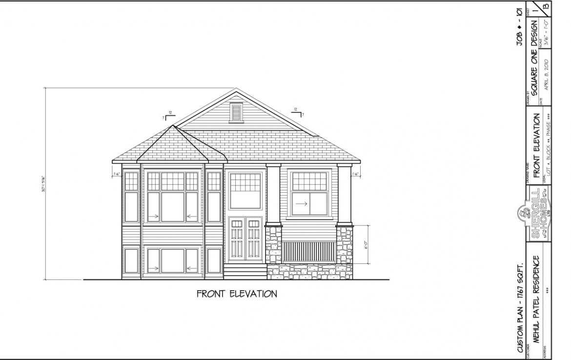 Shergill Homes - Plans for Fort McMurray / Fort Mac; Bungalow 1767 sq. ft front