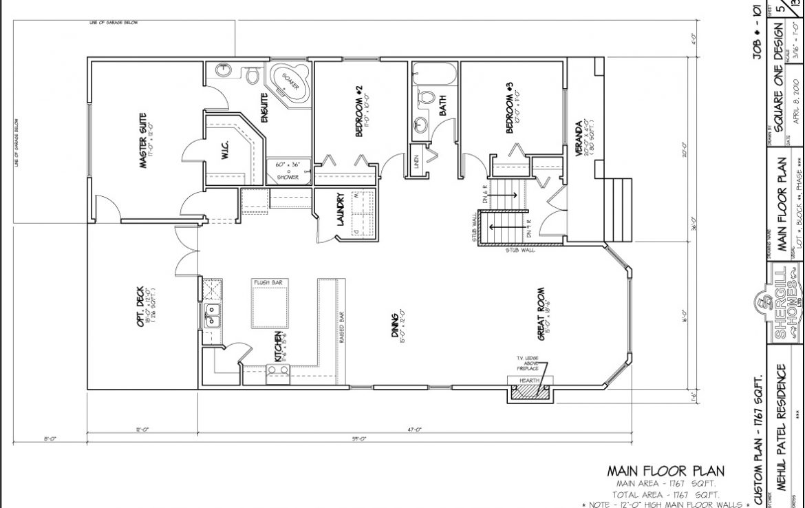 Shergill Homes - Plans for Fort McMurray / Fort Mac; Bungalow 1767 sq. ft floor plan