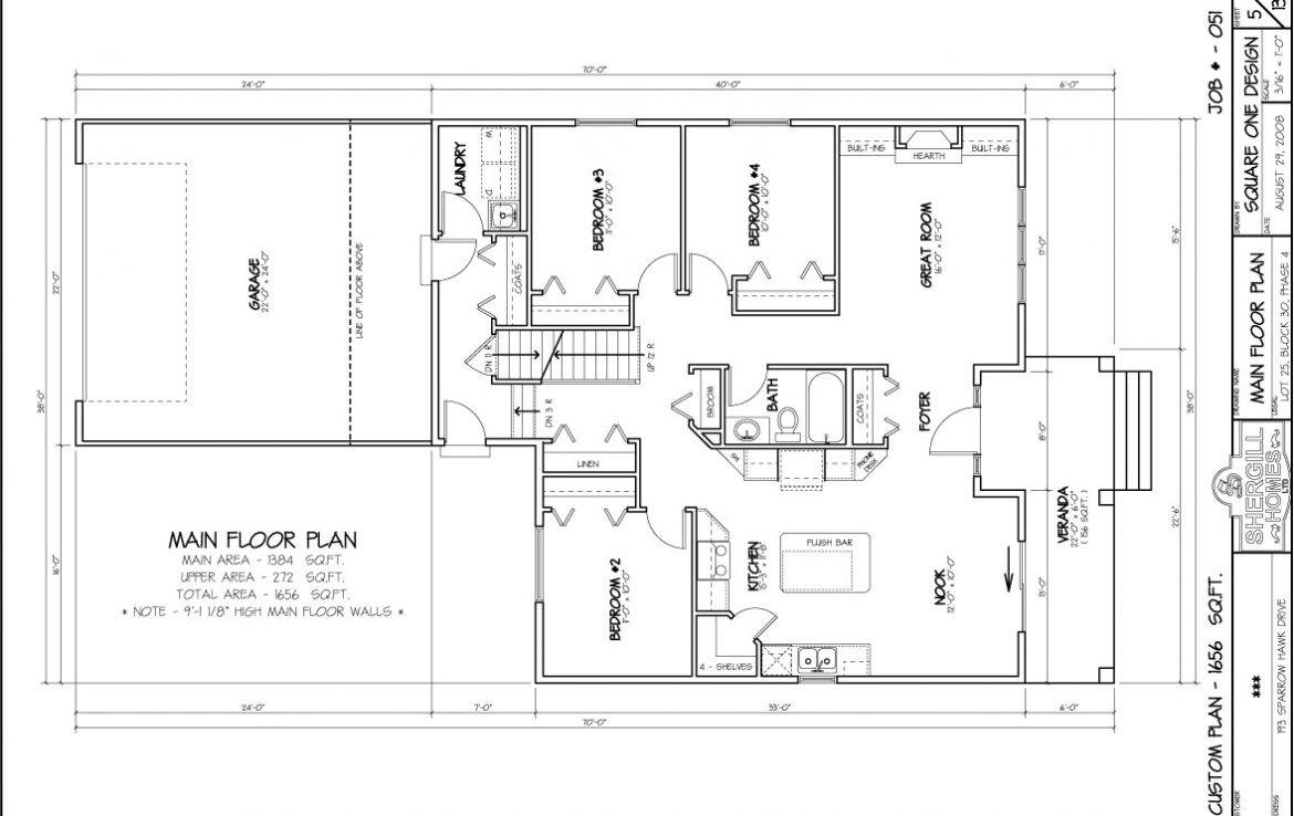 Shergill Homes - Plans for Fort McMurray / Fort Mac; ; Bi-level Bungalow with double car garage 1656 sq. ft main floor plan