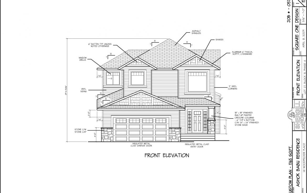 Shergill Homes - Plans for Fort McMurray / Fort Mac; ; Two Storey 1765 sq ft Front View