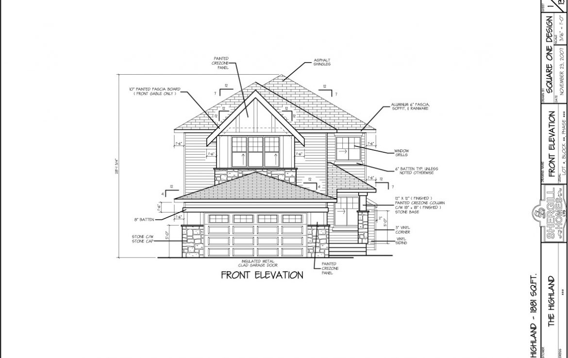 Shergill Homes - Plans for Fort McMurray / Fort Mac; The Highland - 1881 sq ft Two Storey front elevation