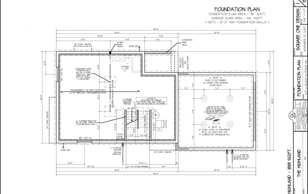 Shergill Homes - Plans for Fort McMurray / Fort Mac; The Highland - 1881 sq ft Two Storey Foundation plan