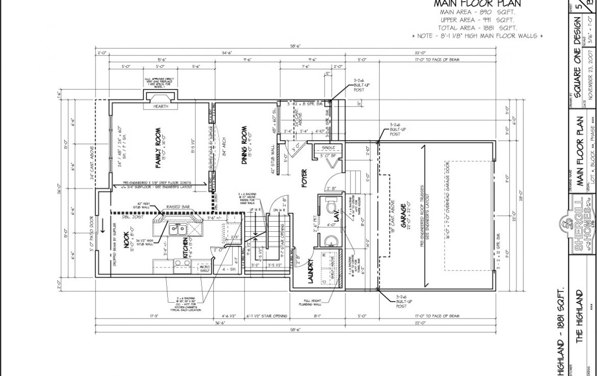 Shergill Homes - Plans for Fort McMurray / Fort Mac; The Highland - 1881 sq ft Two Storey main floorplan