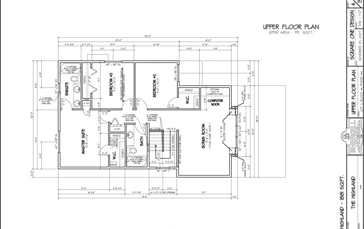 Shergill Homes - Plans for Fort McMurray / Fort Mac; The Highland - 1881 sq ft Two Storey Upper Level floorplan