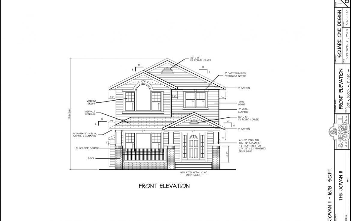 Shergill Homes - Plans for Fort McMurray / Fort Mac; Two Storey Jovan I 1678 sq ft front elevation