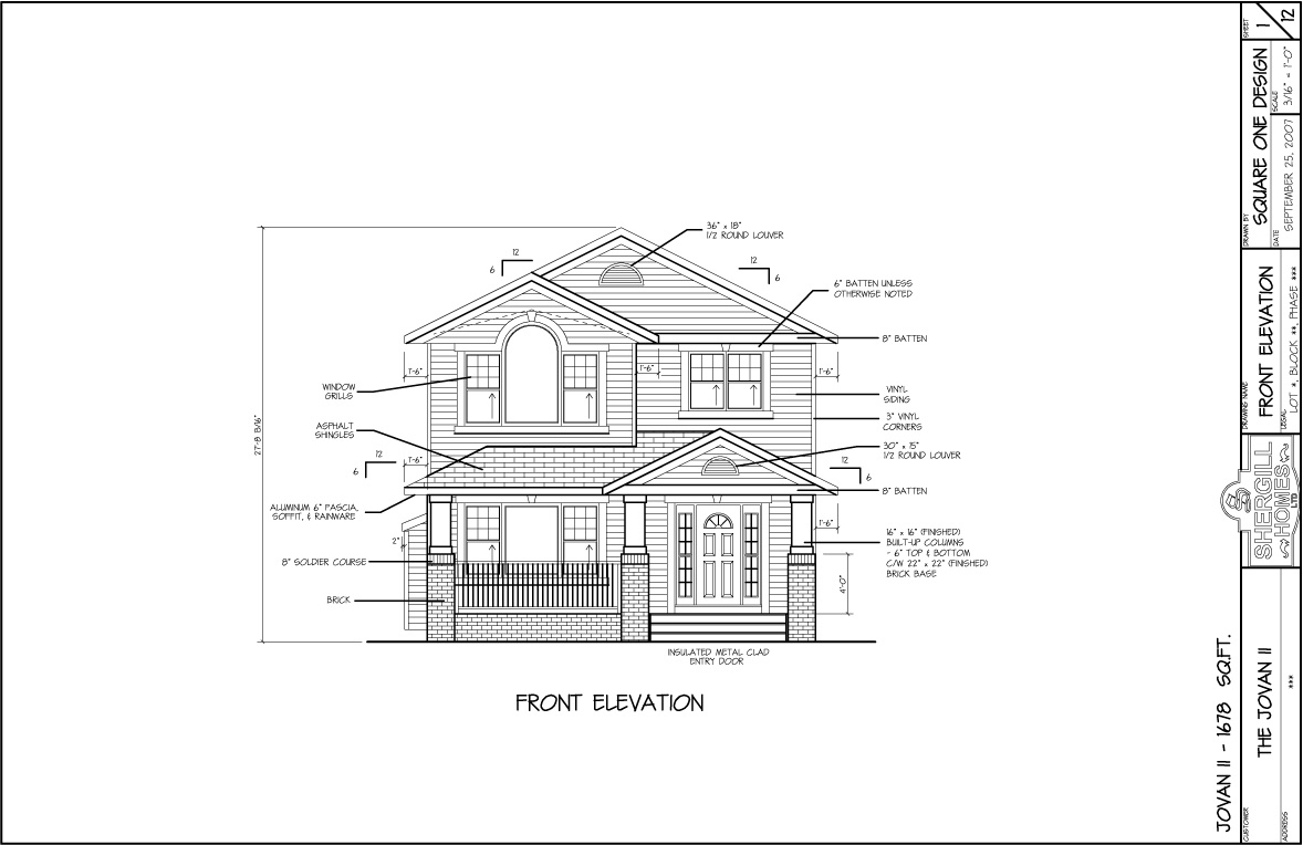 Two Storey Front Elevation : Jovan i the sq ft two storey shergill homes