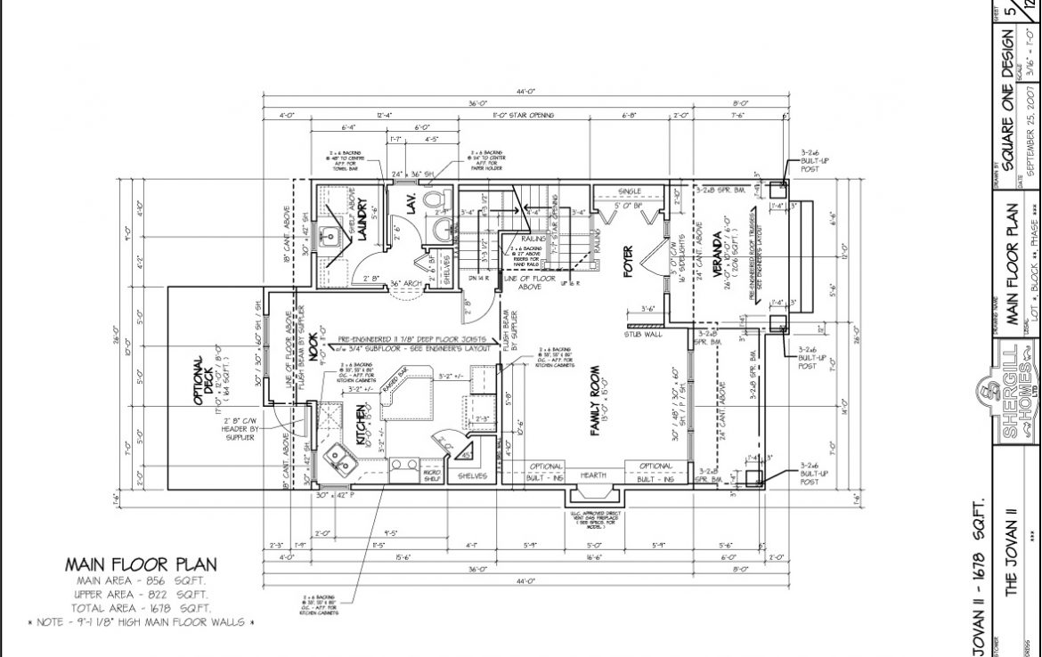 Shergill Homes - Plans for Fort McMurray / Fort Mac; Two Storey Jovan I 1678 sq ft main level floorplan