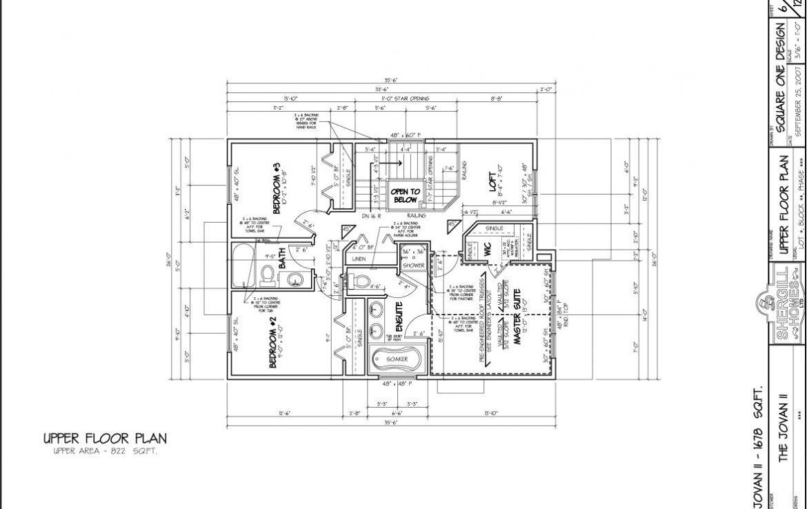 Shergill Homes - Plans for Fort McMurray / Fort Mac; Two Storey Jovan I 1678 sq ft upper level floorplan