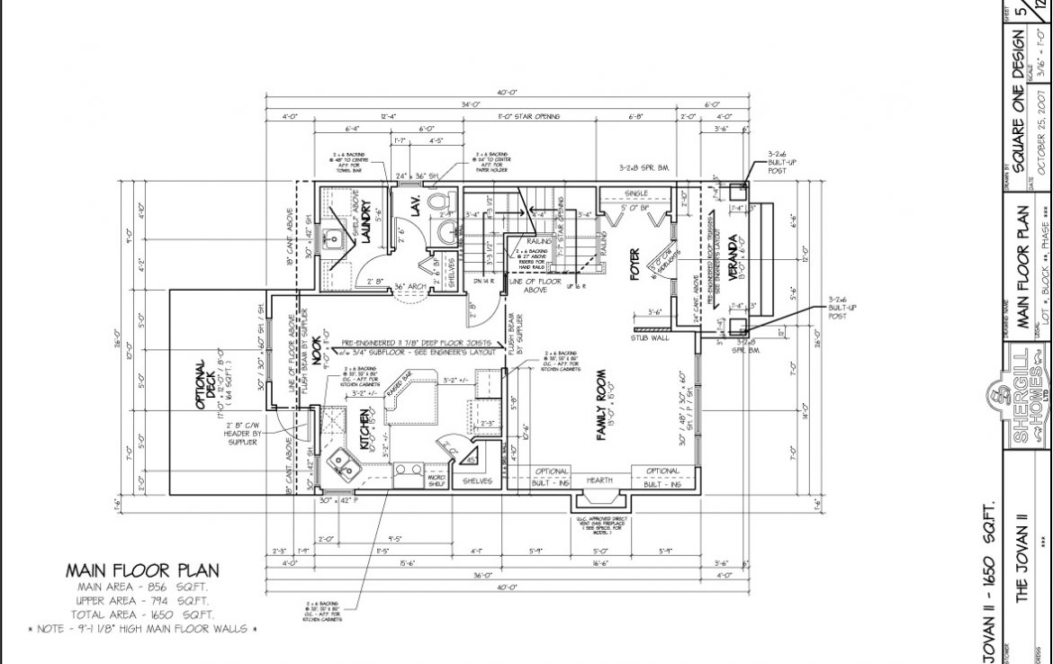 Shergill Homes - Plans for Fort McMurray / Fort Mac; Two Storey Jovan2 1650 sq ft main floor plan