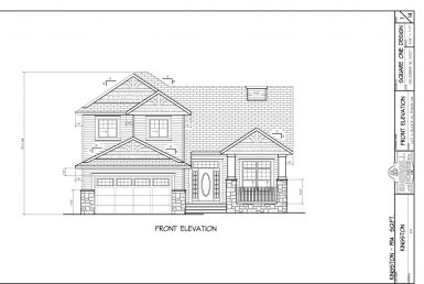 Shergill Homes - Plans for Fort McMurray / Fort Mac; Two Storey Kingston 1914 sq ft Front Elevation