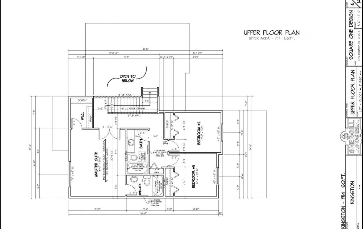 Shergill Homes - Plans for Fort McMurray / Fort Mac; Two Storey Kingston 1914 sq ft Upper Level Floorplan