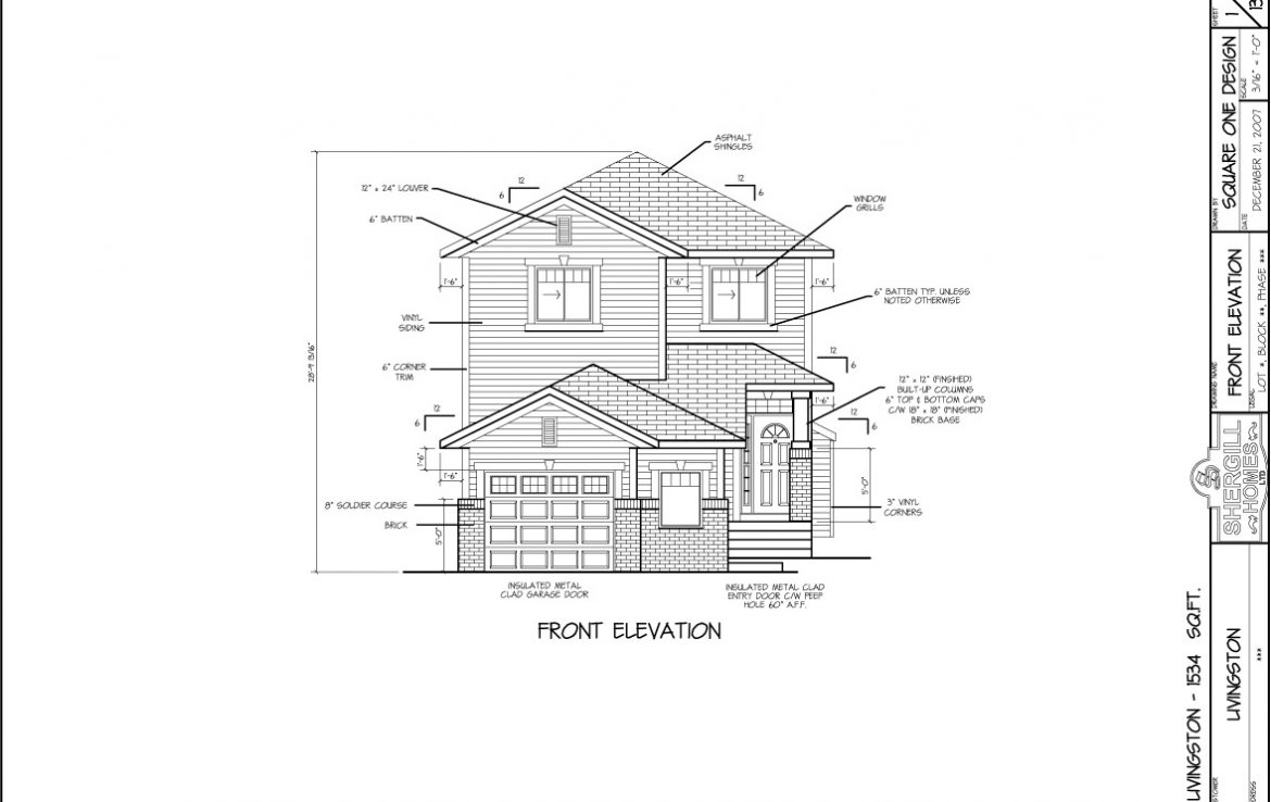 Shergill Homes - Plans for Fort McMurray / Fort Mac; The Livingston - 1534 sq ft Two Storey Front Elevation