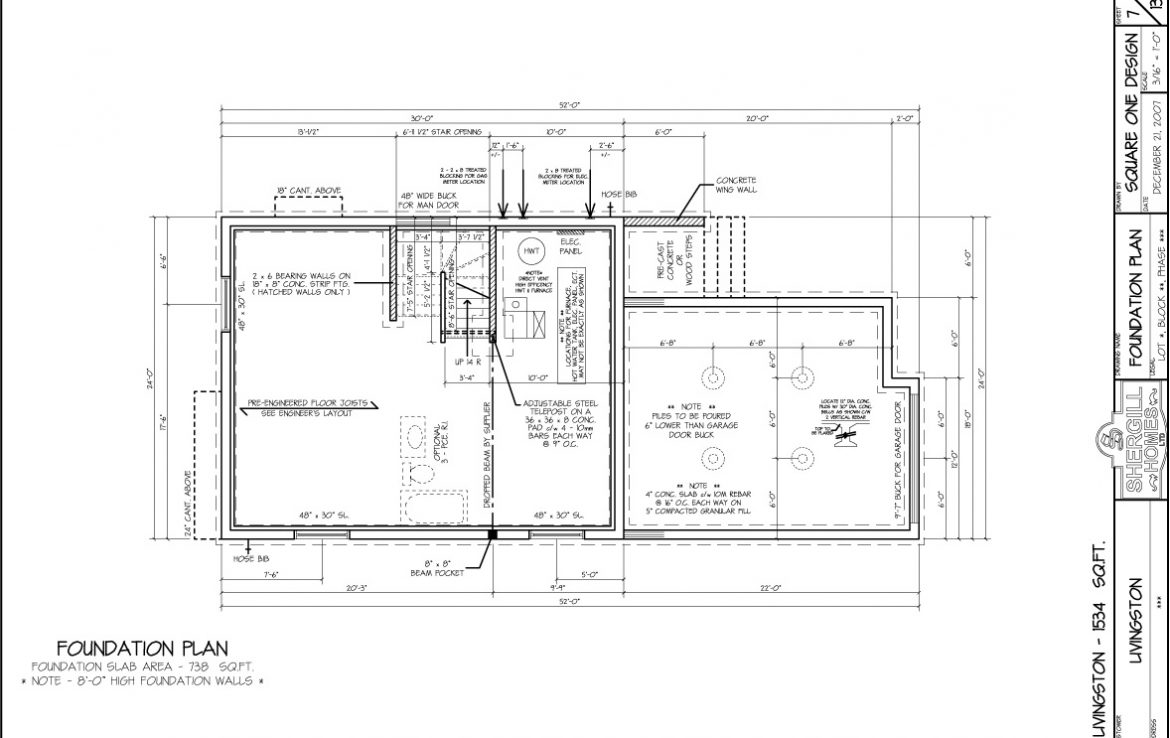 Shergill Homes - Plans for Fort McMurray / Fort Mac; The Livingston - 1534 sq ft Two Storey Foundation Plan