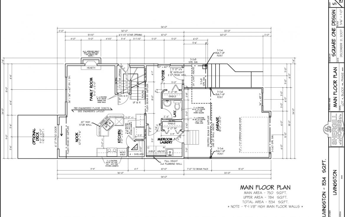 Shergill Homes - Plans for Fort McMurray / Fort Mac; The Livingston - 1534 sq ft Two Storey Main Floor Plan