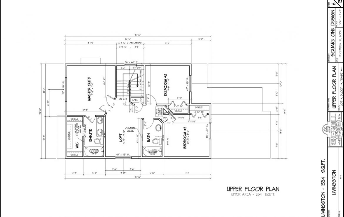 Shergill Homes - Plans for Fort McMurray / Fort Mac; The Livingston - 1534 sq ft Two Storey Upper Floor Plan