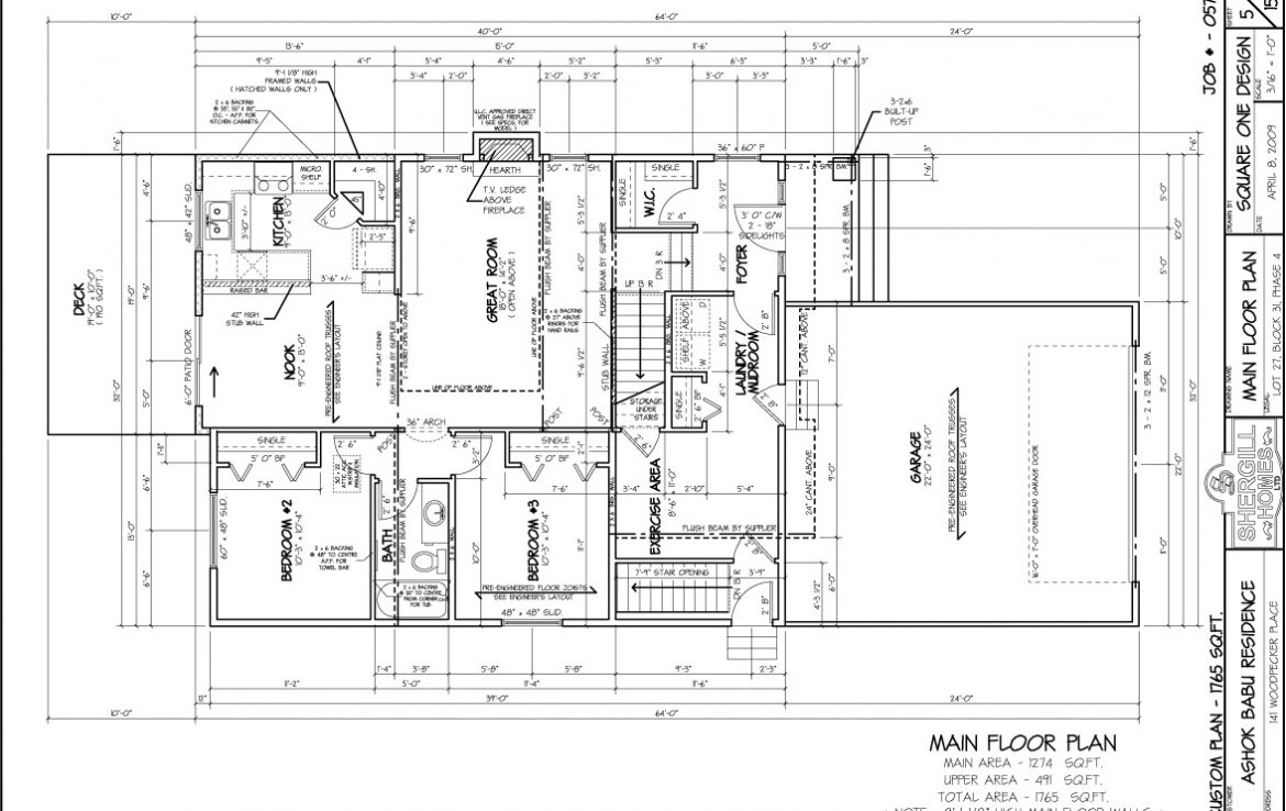 Shergill Homes - Plans for Fort McMurray / Fort Mac; Two Storey 1765 sq ft Main Floor Plan