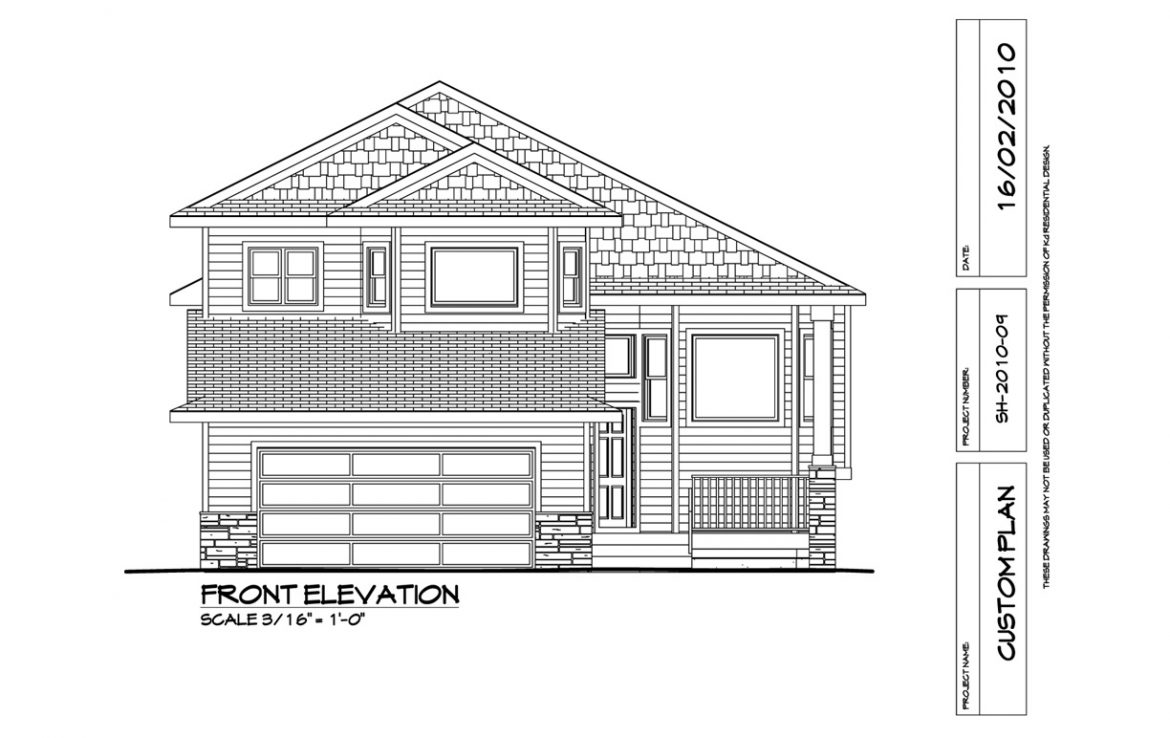 Shergill Homes - Plans for Fort McMurray / Fort Mac; Two Storey Marco 1763 sq ft Front Elevation