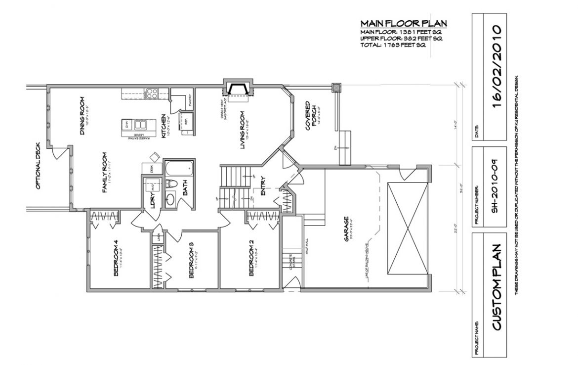 Shergill Homes - Plans for Fort McMurray / Fort Mac; Two Storey Marco 1763 sq ft Main Floor Plan