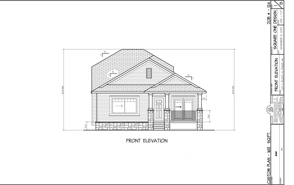 Modified Bungalow 1613 Sq Ft With Rear Car Garage Shergill Homes