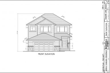 Shergill Homes - Plans for Fort McMurray / Fort Mac; Two Storey 1728 sq. ft Neerav Front View