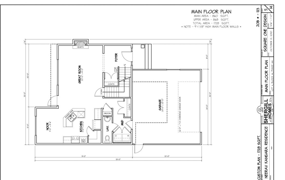 Shergill Homes - Plans for Fort McMurray / Fort Mac; Two Storey 1728 sq. ft Neerav Main Floor Plan