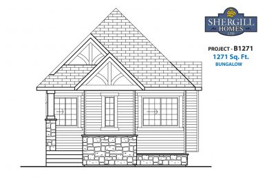 Shergill Homes - Plans for Fort McMurray / Fort Mac; Project B 1271 sqft front elevation