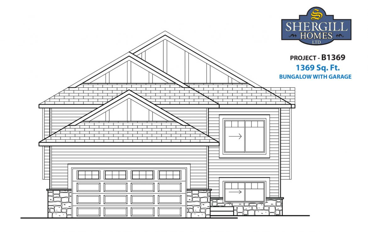 Shergill Homes - Plans for Fort McMurray / Fort Mac; Project B 1369 sq ft front elevation
