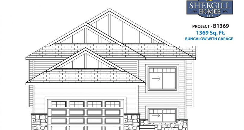 ProjectB-1369-sqft-Bungalow-garage-front-elevation-Shergill-Homes-FortMcMurray-FortMac