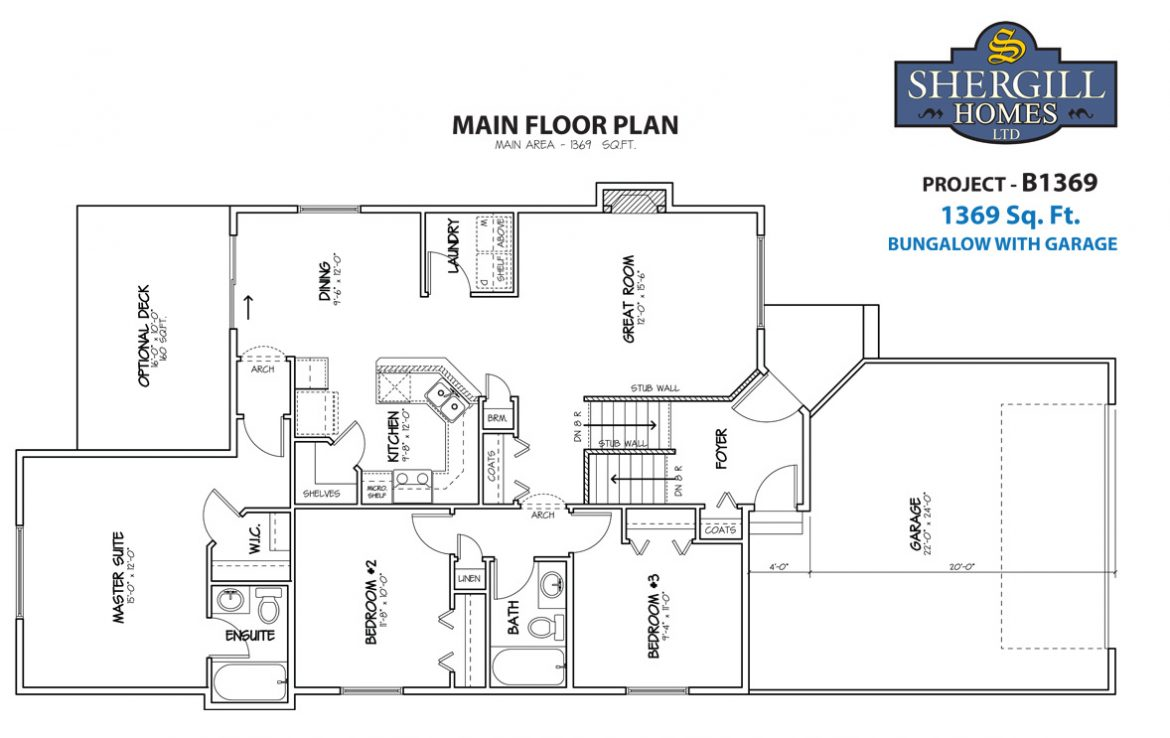 Shergill Homes - Plans for Fort McMurray / Fort Mac; Project B 1369 sq ft main floor plan