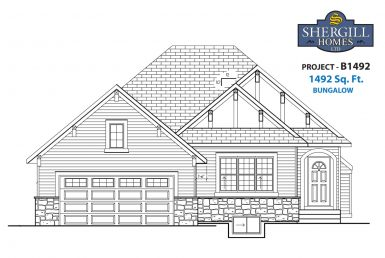 Shergill Homes - Plans for Fort McMurray / Fort Mac; Project B 1492 sqft front elevation