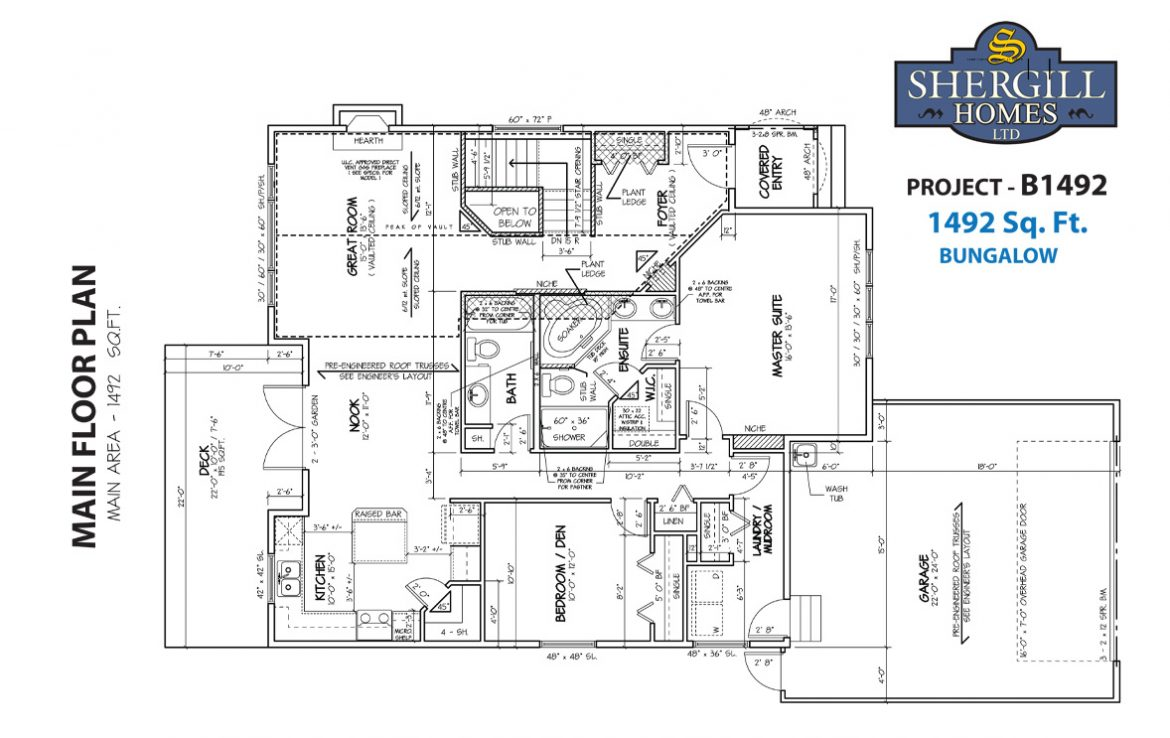 Shergill Homes - Plans for Fort McMurray / Fort Mac; Project B 1492 sqft main floor plan