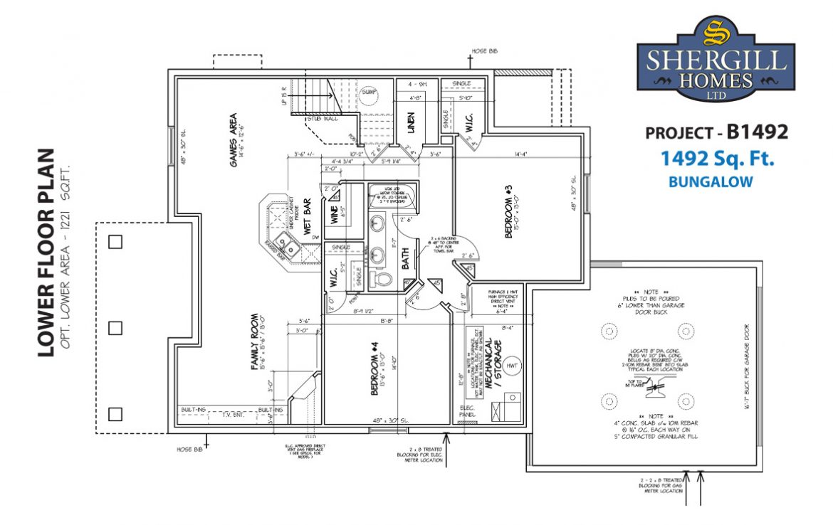 Shergill Homes - Plans for Fort McMurray / Fort Mac; Project B 1492 sqft optional lower level development