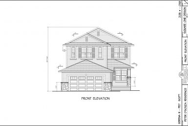 Shergill Homes - Plans for Fort McMurray / Fort Mac; Serena 3 - 1657 sq ft Two Storey Front Elevation
