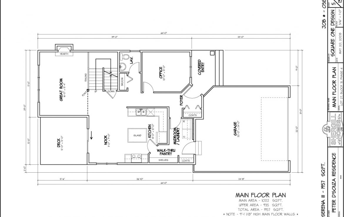 Shergill Homes - Plans for Fort McMurray / Fort Mac; ; Serena 3 - 1657 sq ft Two Storey Main Floor Plan