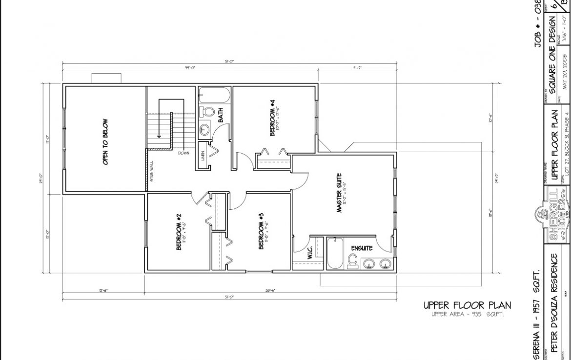 Shergill Homes - Plans for Fort McMurray / Fort Mac; Serena 3 - 1657 sq ft Two Storey Upper Floor Plan