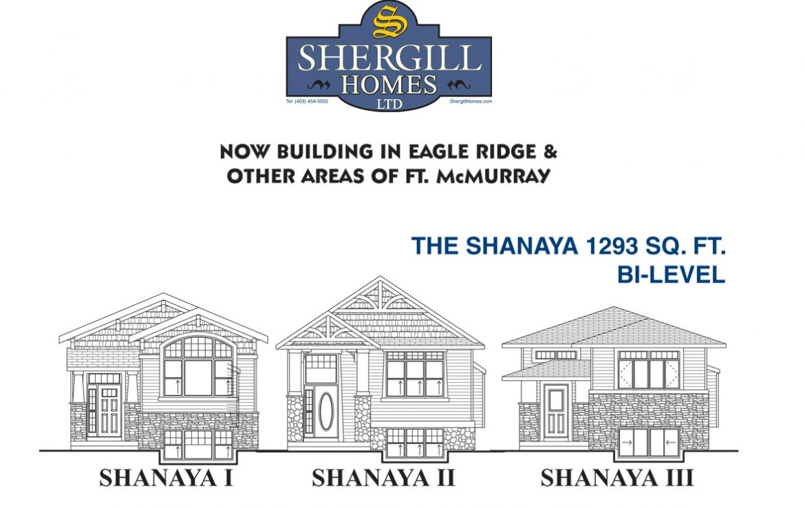 Shergill Homes - Plans for Fort McMurray / Fort Mac; The Shanaya 1293 sq ft Bi Level Front Elevation