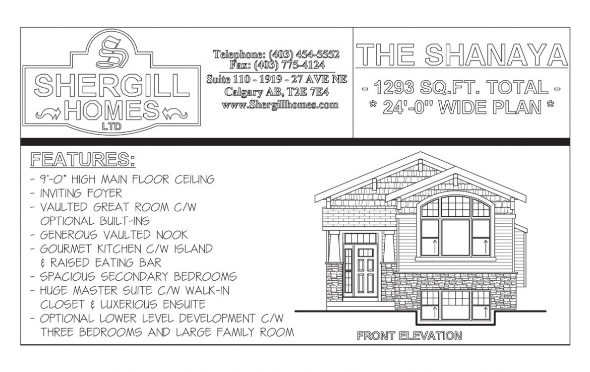 Shergill Homes - Plans for Fort McMurray / Fort Mac; The Shanaya Bi-Level Bungalow 1293 sq. ft
