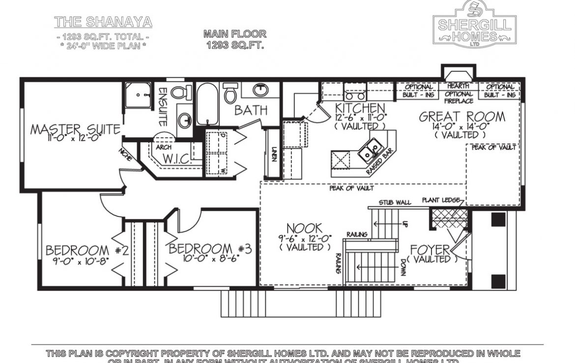 Shergill Homes - Plans for Fort McMurray / Fort Mac; ; The Shanaya Bi-Level Bungalow 1293 sq. ft Main floorplan