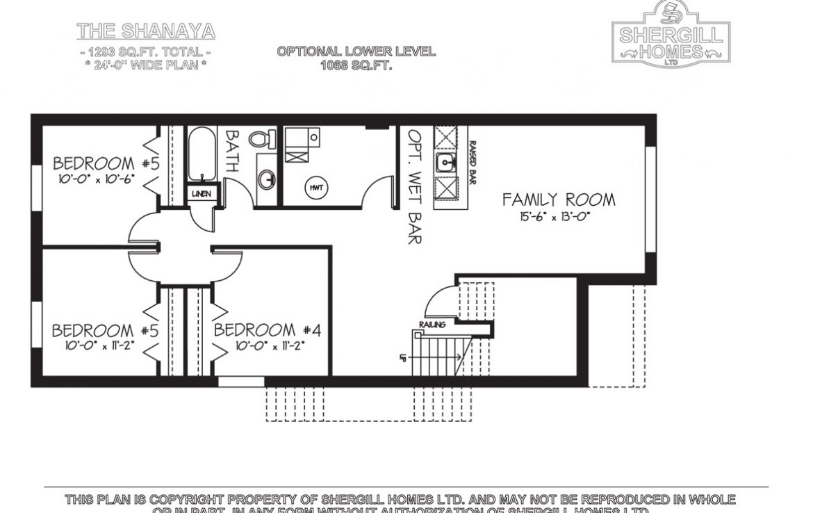 Shergill Homes - Plans for Fort McMurray / Fort Mac; The Shanaya Bi-Level Bungalow 1293 sq. ft lower optional plan