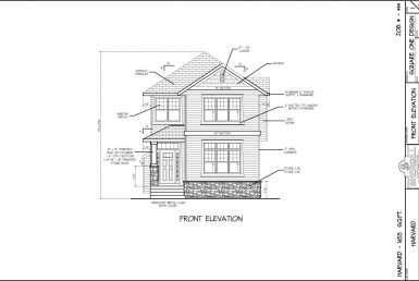 Shergill Homes - Plans for Fort McMurray / Fort Mac; The Harvard - 1453 sq ft Two Storey Front Elevation
